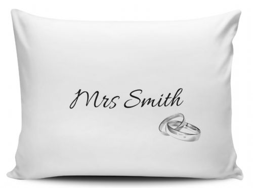 Personalised Mrs Silver Rings Pillow Case